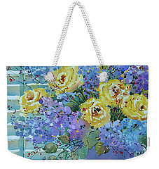 Yellow Roses And Lilacs Weekender Tote Bag