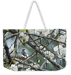 Yellow-rumped Warbler In Pear Tree Weekender Tote Bag