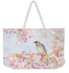 Yellow-rumped Warbler In Spring Blossoms Weekender Tote Bag