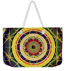 Weekender Tote Bag featuring the painting Yellow Spiral by Kym Nicolas