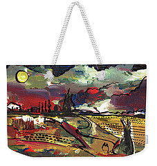 Weekender Tote Bag featuring the painting Yellow Sun by John Jr Gholson