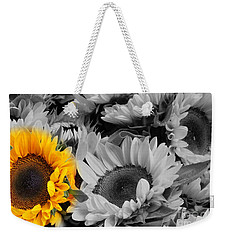 Yellow Sunflower On Black And White Weekender Tote Bag by Dora Sofia Caputo Photographic Art and Design