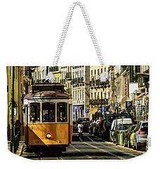 Yellow Tram In Downtown Lisbon, Portugal Weekender Tote Bag