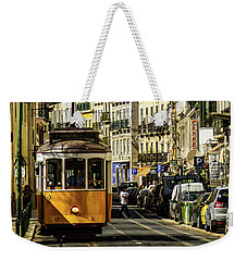 Yellow Tram In Downtown Lisbon, Portugal Weekender Tote Bag