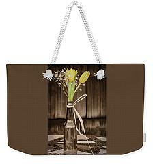 Yellow Tulips In Glass Bottle Sepia Weekender Tote Bag by Terry DeLuco