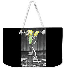 Yellow Tulips In Glass Bottle Weekender Tote Bag by Terry DeLuco