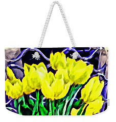 Weekender Tote Bag featuring the painting Yellow Tulips by Joan Reese