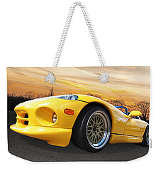 Yellow Viper Rt10 Weekender Tote Bag by Gill Billington