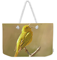 Yellow Warbler Song Weekender Tote Bag by Alan Lenk