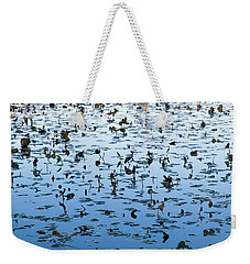 Yellow Water Lilies In Deep Silhouette Weekender Tote Bag