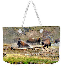 Yellowstone Buffalo- Fine Art Photograph Weekender Tote Bag by Greg Sigrist