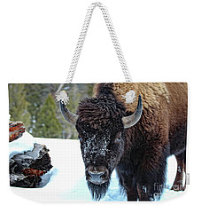 Yellowstone Buffalo Stare-down Weekender Tote Bag