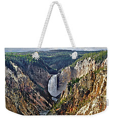 Weekender Tote Bag featuring the digital art Yellowstone Falls Seen From Artist Point by Kai Saarto