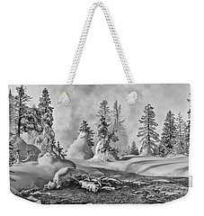 Weekender Tote Bag featuring the photograph Yellowstone In Winter by Gary Lengyel