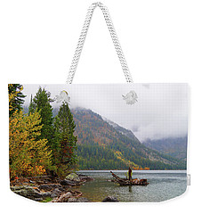 Weekender Tote Bag featuring the photograph Yellowstone Lake Fall by Broderick Delaney