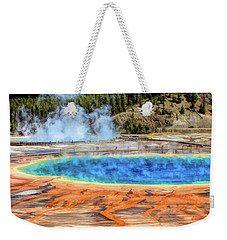 Weekender Tote Bag featuring the painting Yellowstone National Park Grand Prismatic Spring by Christopher Arndt