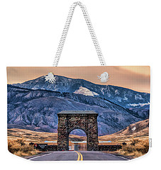 Weekender Tote Bag featuring the painting Yellowstone National Park North Entrance by Christopher Arndt