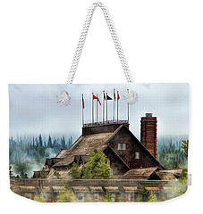 Weekender Tote Bag featuring the painting Yellowstone National Park Old Faithful Inn by Christopher Arndt