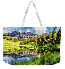 Weekender Tote Bag featuring the painting Yellowstone National Park Trout Lake by Christopher Arndt