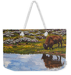 Weekender Tote Bag featuring the painting Yellowstone Reflections by Erin Fickert-Rowland