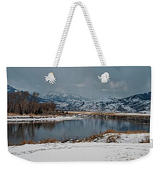 Yellowstone River In Light Snow Weekender Tote Bag