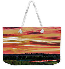 Yellowstone River Wildfire Sunset Weekender Tote Bag