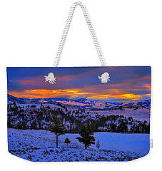 Weekender Tote Bag featuring the photograph Yellowstone Winter Morning by Greg Norrell
