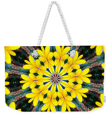 Weekender Tote Bag featuring the photograph Yelow Floral Burst by Shirley Moravec