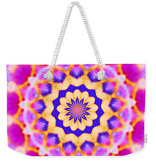 Weekender Tote Bag featuring the photograph Yelow Pink Blue Mandala by Shirley Moravec