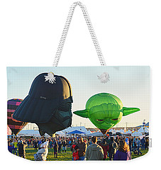 Weekender Tote Bag featuring the photograph Yoda And Darth by AJ Schibig