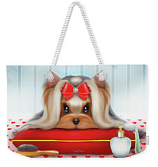 Weekender Tote Bag featuring the painting Yorkie Beauty by Catia Lee