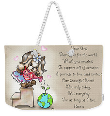 Weekender Tote Bag featuring the painting Yorkie Earth Day Prayer by Catia Lee