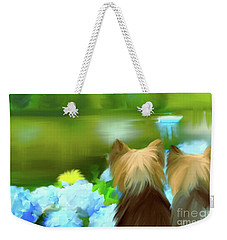 Weekender Tote Bag featuring the painting Yorkies At The Lago Negro by Catia Lee