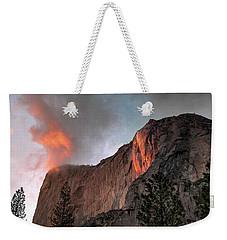 Yosemite, Horsetail Falls, Cloudy Sunset Weekender Tote Bag