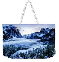 Weekender Tote Bag featuring the painting Yosemite National Park Tunnel View Snowy Morning by Christopher Arndt