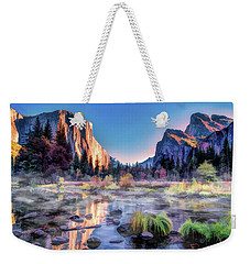 Weekender Tote Bag featuring the painting Yosemite National Park Valley by Christopher Arndt