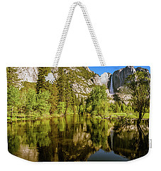 Weekender Tote Bag featuring the photograph Yosemite Reflections On The Merced River by John Hight