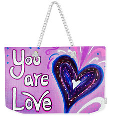 You Are Love Purple Heart Weekender Tote Bag