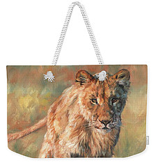 Weekender Tote Bag featuring the painting Youn Lion by David Stribbling