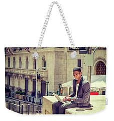 Young African American Man Working On Wall Street In New York Weekender Tote Bag