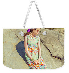 Young American Woman Summer Fashion In New York Weekender Tote Bag