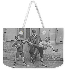 Weekender Tote Bag featuring the painting Young Boxers by Artistic Panda