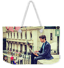 Young Businessman Working On Wall Street In New York Weekender Tote Bag