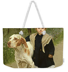 Young Child And A Big Dog Weekender Tote Bag by Luigi Toro