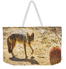 Young Coyote And Cactus Weekender Tote Bag