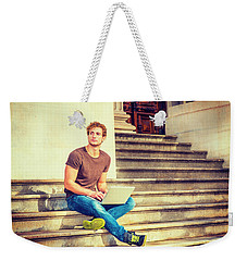 Young Man Working Outside In New York Weekender Tote Bag