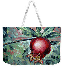 Weekender Tote Bag featuring the painting Young Pomegranate by Maria Langgle