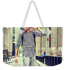 Young Russian Man Traveling In New York Weekender Tote Bag