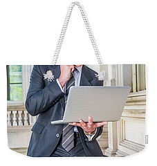 Young School Boy Working Remotely 15042510 Weekender Tote Bag
