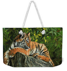 Weekender Tote Bag featuring the painting Young Tiger Resting On Rock by David Stribbling
